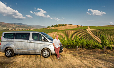 Me in the vineyards with the van