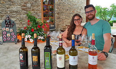 Couple wine tasting in Chianti