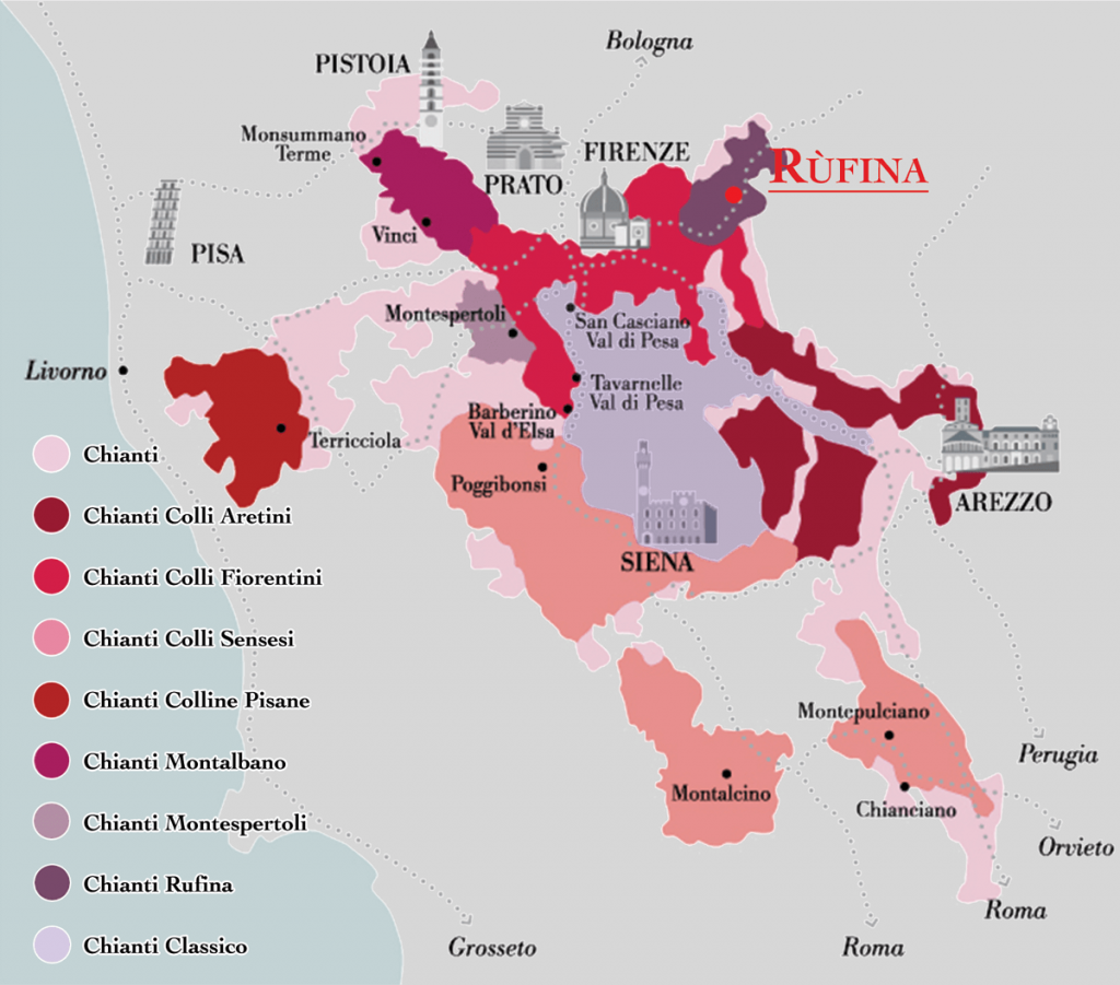 Chianti wine production zones map